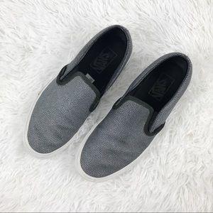 Vans Silver Black Textured Unisex Slip On Sneakers